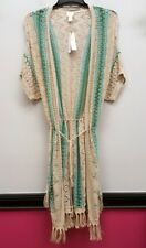 CHICOS Size 3 Beige Blue Green Striped Tassels Belted Duster Cardigan Top