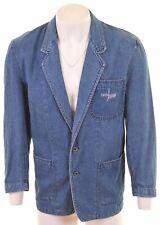 TRUSSARDI Mens 2 Button Denim Blazer Jacket Size 40 Large Blue Cotton  ED06