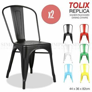 2 x Replica Tolix Chairs Xavier Pauchard Dining Steel Industrial Bar Stool Metal