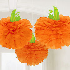 3 x Halloween Orange Pumpkin Hangers Fluffy Paper Hanging Decorations Pom Poms