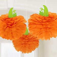 3x Halloween Naranja Calabaza Perchas Mullido Papel Decoración para Colgar