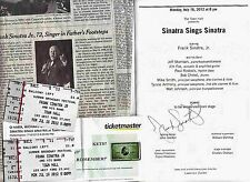 Autographed Frank Sinatra Jr. Concert Program (July 2012) Town Hall, Nyc + Tixs
