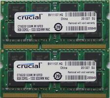 Crucial Ram 16GB Kit DDR3 PC3-10600, 1333 MHz Per Ultimo 2011 Apple Macbook Pro's
