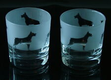 More details for doberman pinscher dog gift whisky glasses by glass in the forest. boxed.