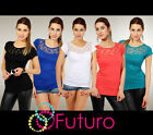 sensible T-shirt avec dentelle chemisier couleurs chaudes débardeur top taille