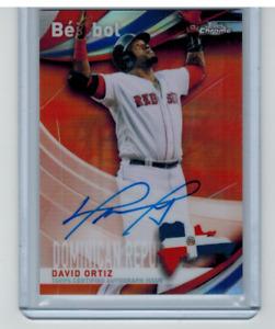 2021 Topps Chrome Beisbol David Oritz Autograph Orange Refractor /25 Red Sox