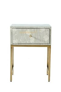 Bone Inlay Flower Design Bedside Table in Grey Color Nightstands With Insurance