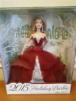 Barbie Collector 2015 Holiday Barbie Doll Blonde Hair Caucasian Red Dress NEW