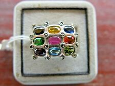 Ring Square Multi Stone Ruby Marcasite Silver 925 Sterling Woman Vintage  # 9