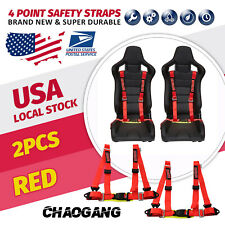 2x Chaogang Universal Red 4 Point Camlock Quick Release Racing Seat Belt Harness