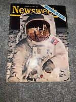 Vintage Newsweek Magazine August 11 1969 Moonwalk In Color Front Cover Mint Cond