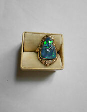Antique 14K Gold Ring w/LARGE natural BLACK OPAL--damaged-4.7 grams sz 6