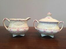 Antique Wedgwood EMPRESS Yellow & Pink Creamer and Lidded Sugar ~ England