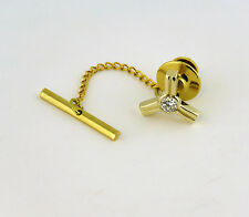 0.15CT MENS DIAMOND TIE PIN TIE TACK 14K YELLOW GOLD
