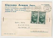 STORIA POSTALE 1954 TRIESTE A LAVORO L.2 SU CARTOLINA TRIESTE 9/3 Z/3820