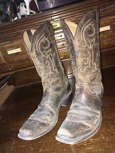 Nocona Mrns Cowboy Boots Square Toe Brown Leather Sz 11 D