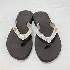 Reef MIA Sassy Women's White Silver Sparkle Flip Flops Thongs Size 5        0925
