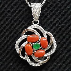 1.20ctw Coral, Emerald, & Diamond Cut White Sapphire 925 Sterling Silver Pendant