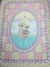 New listing Precious Moments Baby Crib Quilt Blanket Yellow Purple Pink *Read