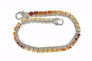 """Judith Ripka Red Garnet, Orange Citrine Sterling Silver tennis 7""""Long Bracelet"""