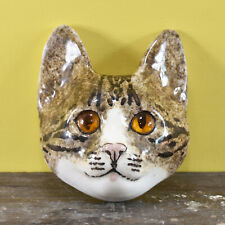More details for a vintage kitsch winstanley size 2 ceramic tabby cat head wall plaque glass eyes