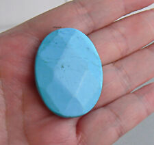 Large Faceted Oval Turquoise Focal Gemstone 40x30mm
