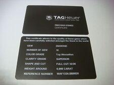 Genuine TAG Heuer watch Certificate Card Precious Stones WAF1320.BB0820