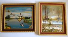 Two Vintage Metallic Foil Prints in old frames - Mallard Duck Scenes - Retro ART