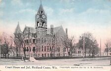 Richland Center Wisconsin~Courthouse & County Jail c1913 Postcard