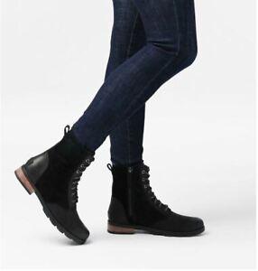 Sorel Women's Emelie Short Lace Up Black Boot Size 8 B