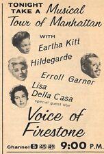 TV AD~VOICE OF FIRESTONE~EARTHA KITT~HILDEGARDE~ERROLL GARNER~LISA DELLA CASA