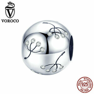 VOROCO 925 Sterling Silver Dandelion Charm Beads With AAA CZ High Quality Charms