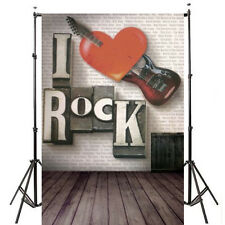 5x7ft I Love Rock Heart Photography Backdrop Background Vinyl Cloth Props