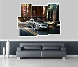 Huge Collage View Bmw I8 Super Car Wall Stickers Film Decal Mural 1120