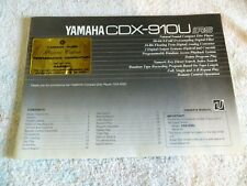 Yamah Cdx-910U - Rs Owners Manual with Warranty Cards & Original Receipt