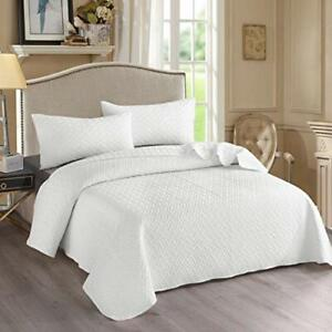 NEW! ~  XXL COZY WHITE MODERN VINTAGE CHIC EXTRA LARGE SOFT BEDSPREAD QUILT SET