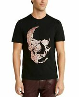 INC Mens T-Shirt Pink Black Size XL Embellished Tee Skull Sequin Crew $39 128