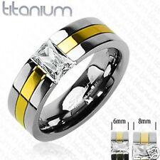 Mens Ring Two ToneTitanium & Cubic Zircon