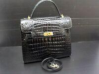 GENUINE CROCODILE SKIN Black Patent Leather Hand Shoulder Bag 2Way 6F210500N