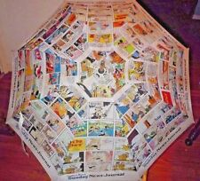 Vintage Comic Strip Cartoon Golf Umbrella Donald Duck Blondie Beetle Bailey EUC