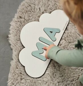 White Cloud Name Puzzle Baby Gifts Personalized Puzzle Pastel Nursery Room Decor