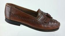 Giorgio Brutini Mens Brown Leather Tassel Kiltie Woven Loafer Size 10M R5S7