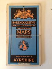 RARE ANTIQUE CONTOURED BARTHOLOMEWS SURVEY MAP OF AYRSHIRE SCOTLAND