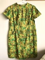 Vintage 60s MOD Groovy Green Floral Sheath Dress with Pockets Size XL 18 1/2''
