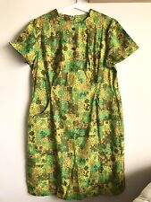 New listing Vintage 60s Mod Groovy Green Floral Sheath Dress with Pockets Size Xl 18 1/2''