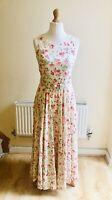Vintage Laura Ashley Long Floral Belted Dress Size 10 Cottagecore 90s Rare