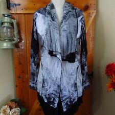 CATIVA Black & White Distressed Asymmetrical Jacket Size S