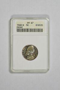 1968 S 5C Proof Jefferson Nickel ANACS PF 67