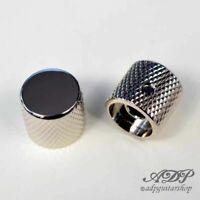 "2x Boutons Metal 20x19 FlatTop Knobs SolidShaft 1/4""6,35mm BigGrip P-Bass Nickel"