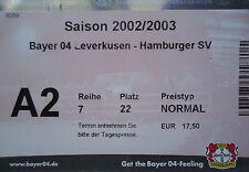 TICKET 2002/03 Bayer 04 Leverkusen - Hamburger SV